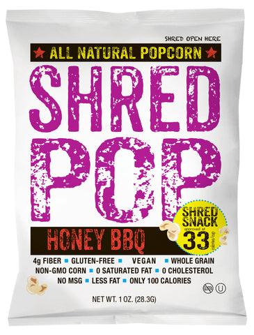 SHRED POP - Honey BBQ (24 - 1oz bags)