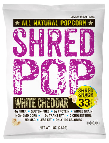 SHRED POP - White Cheddar (24 - 1oz bags)