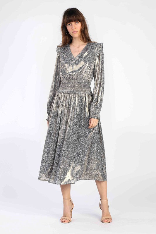 Apparel- Georgie Shimmer V Neck Midi Dress
