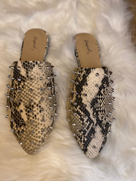 Shoes- Danny Studded Slides Snakeskin