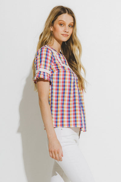 Apparel- Blake Gingham Ruffle Top