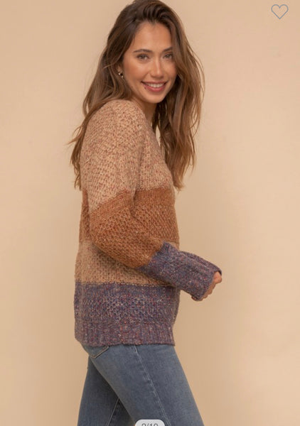 Apparel- Jerry Multi Yarn Color Block Sweater