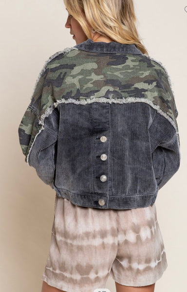 Apparel- Tyler Corduroy and Camo Vintage Jacket Black