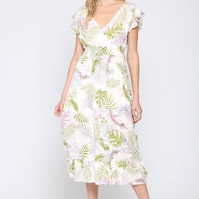 Apparel- Karline Tropical Midi Dress