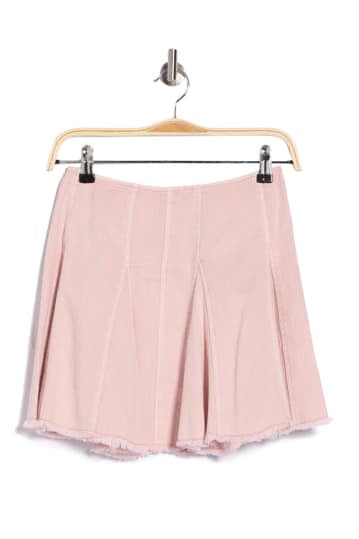 Apparel- Clyde Frayed Hem Denim Skirt Powder Pink