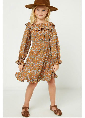 Girls- Floral Ruffle Sleeve Mini adress