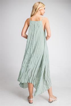 Apparel-Crinkled Straps Maxi Dress