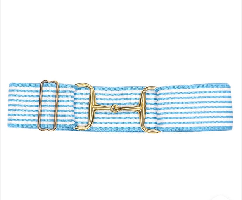 Belts- Light Blue Stripes 2 In Gold Snaffle Elastic Belt