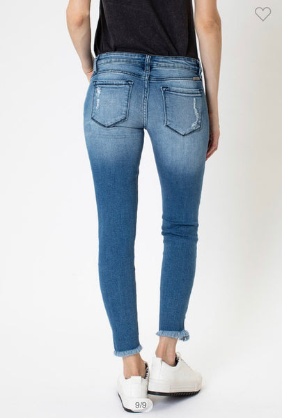 Apparel- Darby Low Rise Distressed Skinny Ankle Jeans