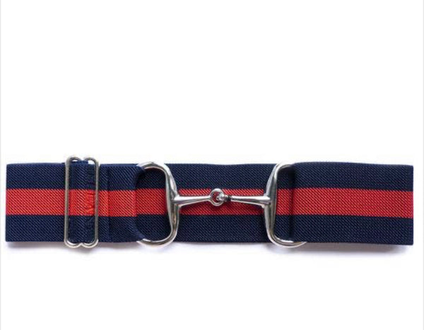 "Belts-  2"" Navy and Red Silver Snaffle Bit Elastic Belt"