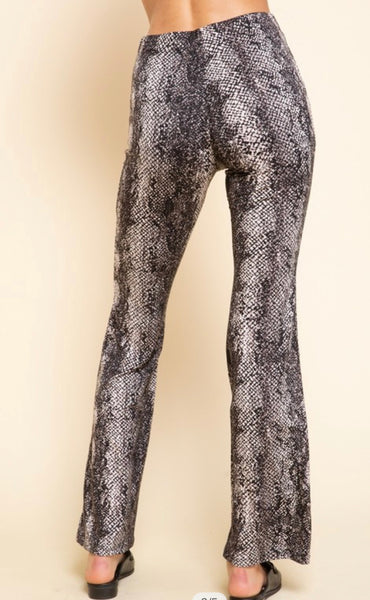 Apparel- Christos Snakeskin Bell Bottom Flare Pants