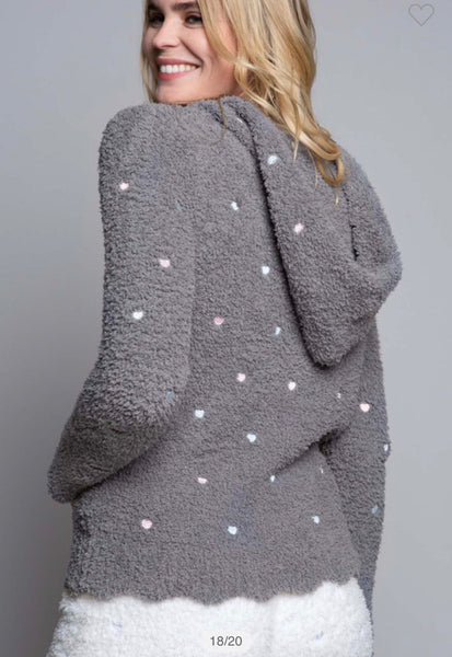 Apparel-Charlie Berber Hoodie with Pastel Embroidered Hearts Gray