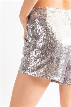 Apparel- Duff Sequin Shorts Silver