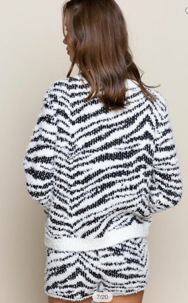 Apparel- Lisette Zebra Berber Cozy Top Black