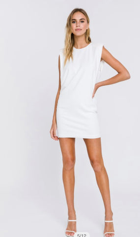 Apparel- Austin Padded Muscle Shirt Dress White