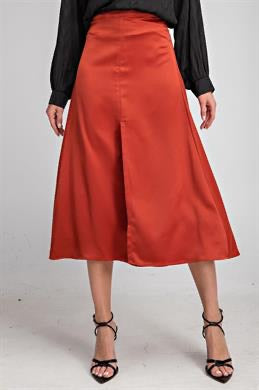 Apparel- Jennifer Slit Satin Modi Skirt Rust