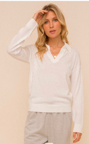 Apparel- Astrid Collar Deep V Neck Sweater