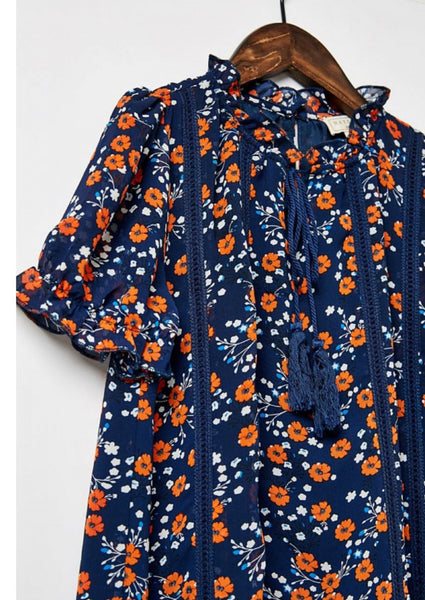 Girls- Navy Floal Tunic