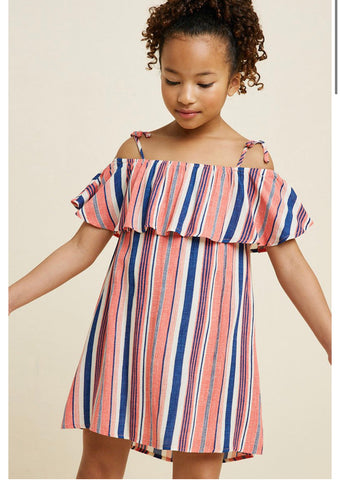 Girls- Striped Cold Shoulder Tie Strap Dress