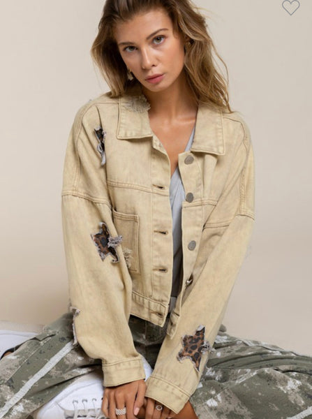 Apparel- Dottie Vintage Washed Star Print Jacket