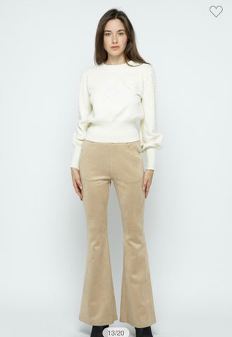 Apparel-Casey Suede Flare Pants Taupe