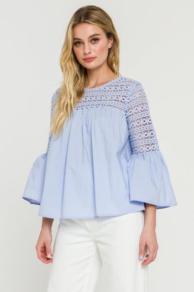 Apparel- Agatha Lace with Poplin Bell Sleeve Blouse Baby Blue