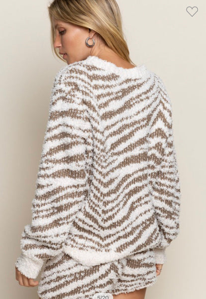 Apparel- Lisette Zebra Berber Cozy Top Dusty Olive
