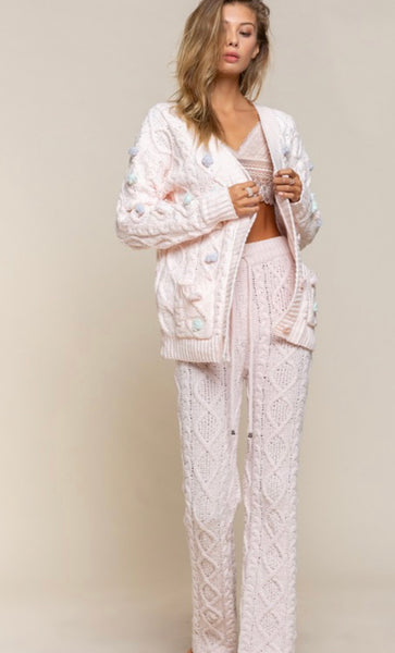 Apparel-Heidi Chenille Cable Knit Cardigan Powder Pink