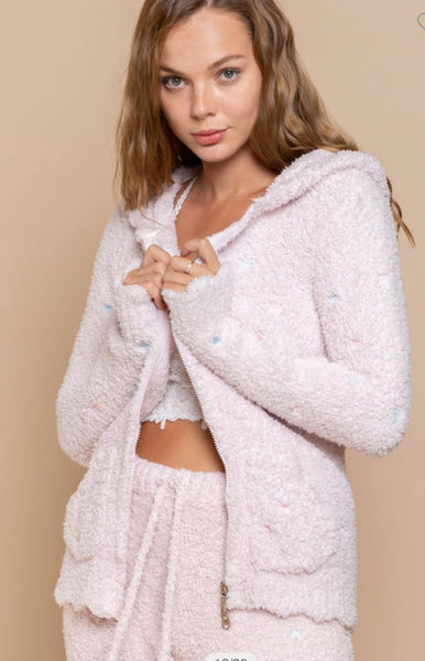 Apparel-Charlie Berber Hoodie with Pastel Embroidered Hearts Powder Pink