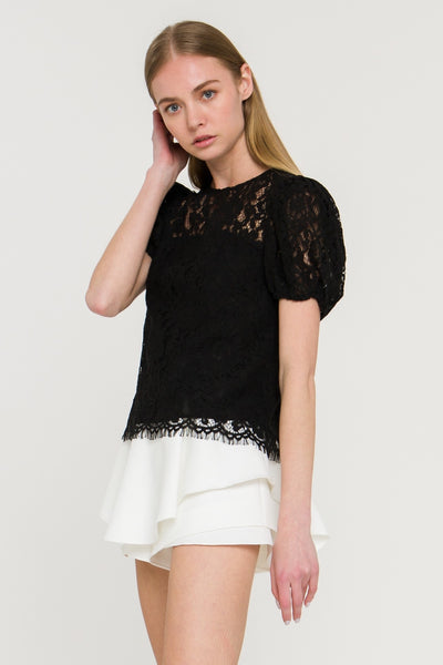 Apparel- Crocket Lace Crop Top Black