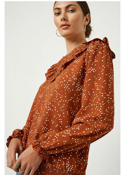 Apparel- Jacqualine Abstract Dot Ruffle Top