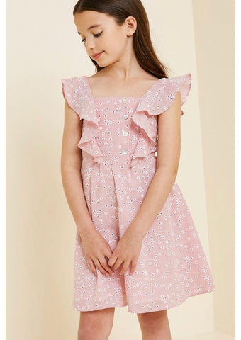 Girls- Striped Floral Ruffled Dress