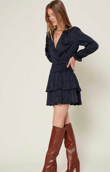 Apparel- Camille Crinkled Long Sleeve Mini Dress Navy