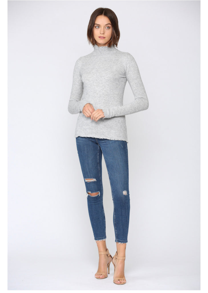 Apparel- Lydia Distressed Cashmere Blend Sweater Heather Gray
