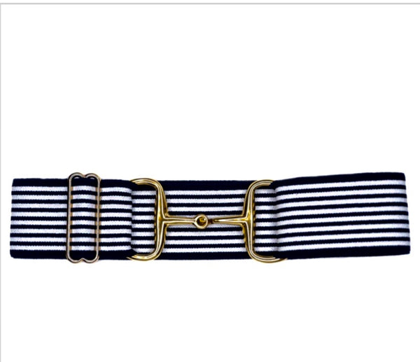 "Belts-  Navy Striped- 2"" Gold Snaffle Bit Elastic Belt"