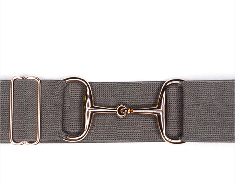 "Belts-  2"" Greige Rose Gold Snaffle Bit Elastic Belt"