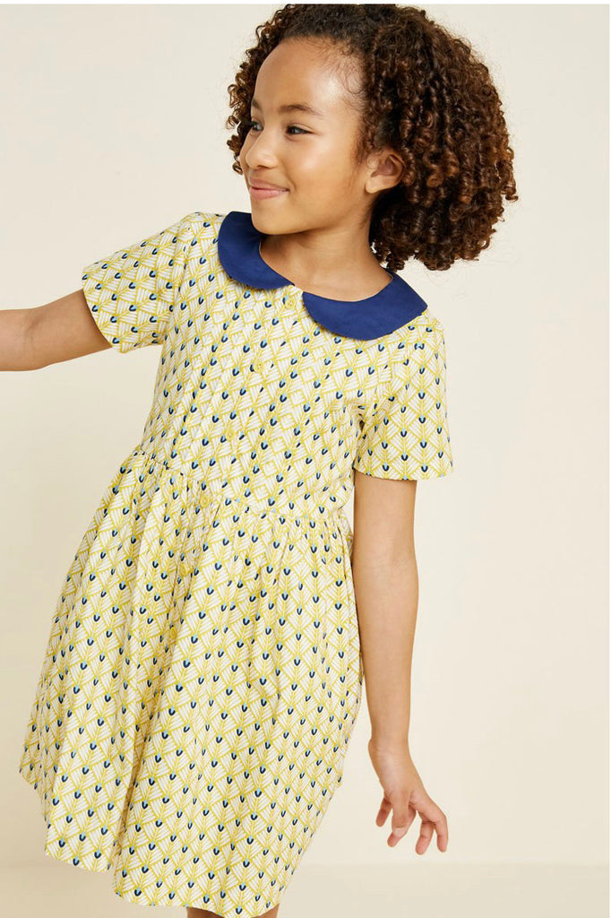 Girls- Printed Round Collar Babydoll Dress