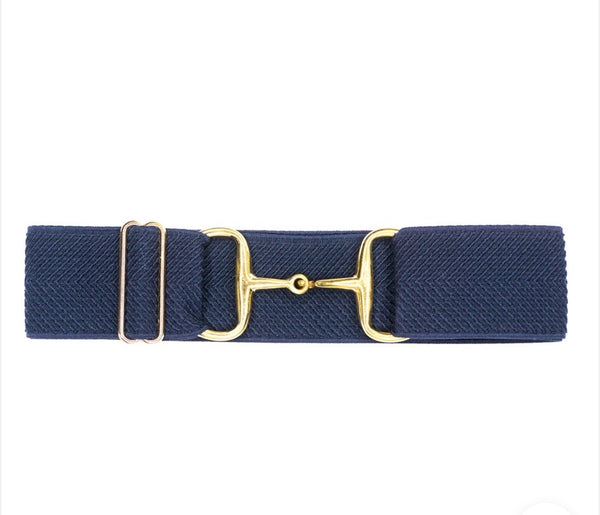 "Belts- Navy Arrows- 2"" Gold Snaffle Bit Elastic Belt"