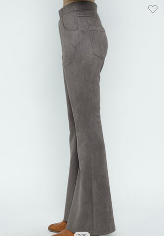 Apparel-Casey Suede Flare Pants Steel Gray