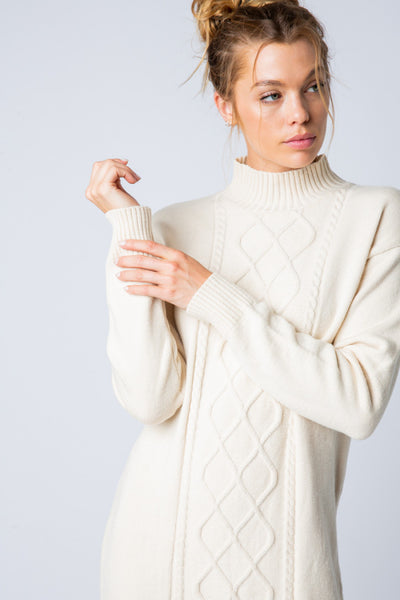 Apparel- Dojio Cable Knit Sweater Dress Off White