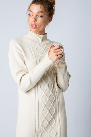 Copy of Apparel- Dojio Cable Knit Sweater Dress Off White
