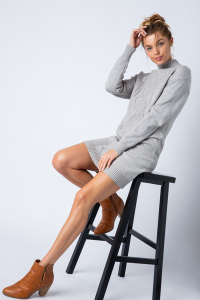 Apparel- Dojio Cable Knit Sweater Dress Off Grey