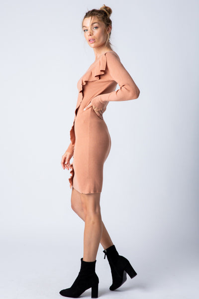 Apparel- Lola Ribbed Stretch Asymmetrical Ruffle Dress Camel