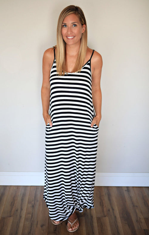 Mikah Maxi Tank Dress - Black Stripe - Gray Monroe
