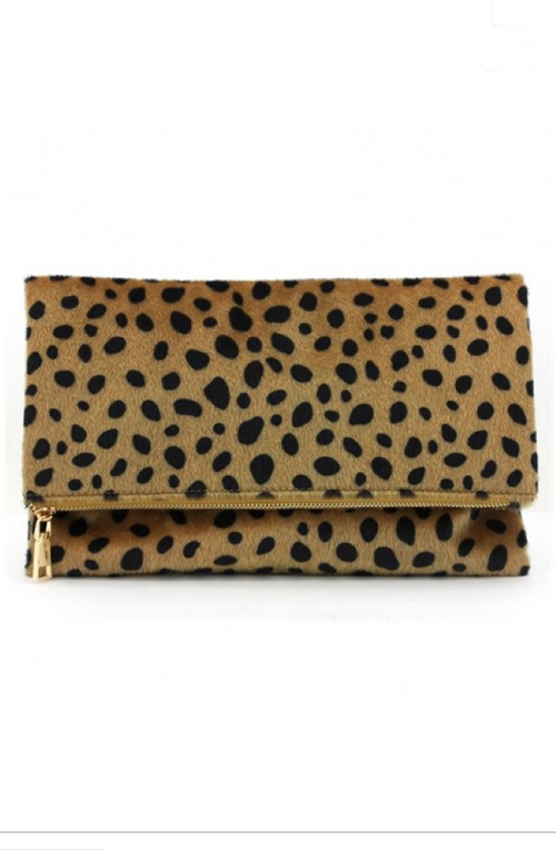 PRE-ORDER Amy Fold-Over Leopard Clutch - Gray Monroe