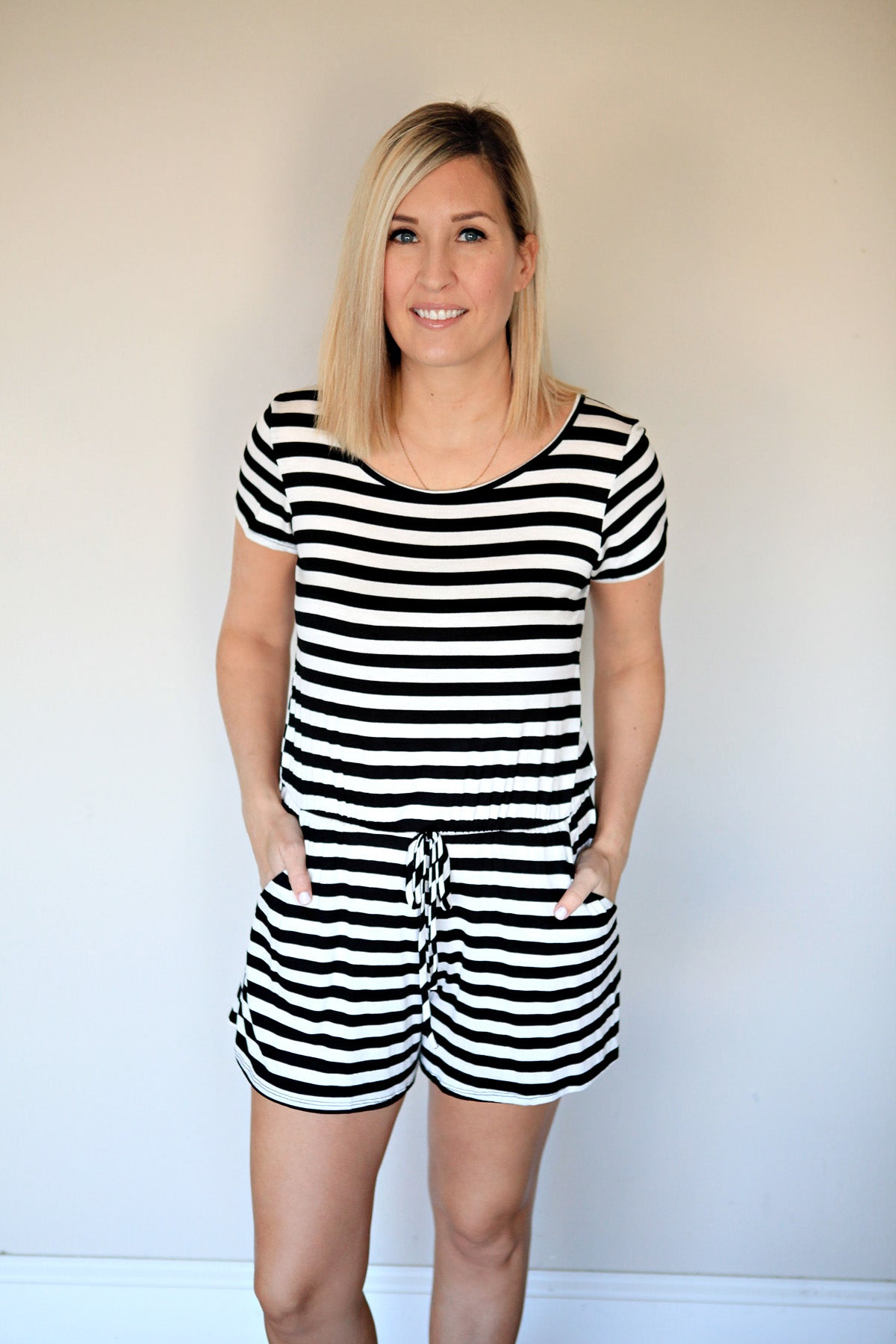 Ellison Romper - Stripe - FINAL SALE - Gray Monroe