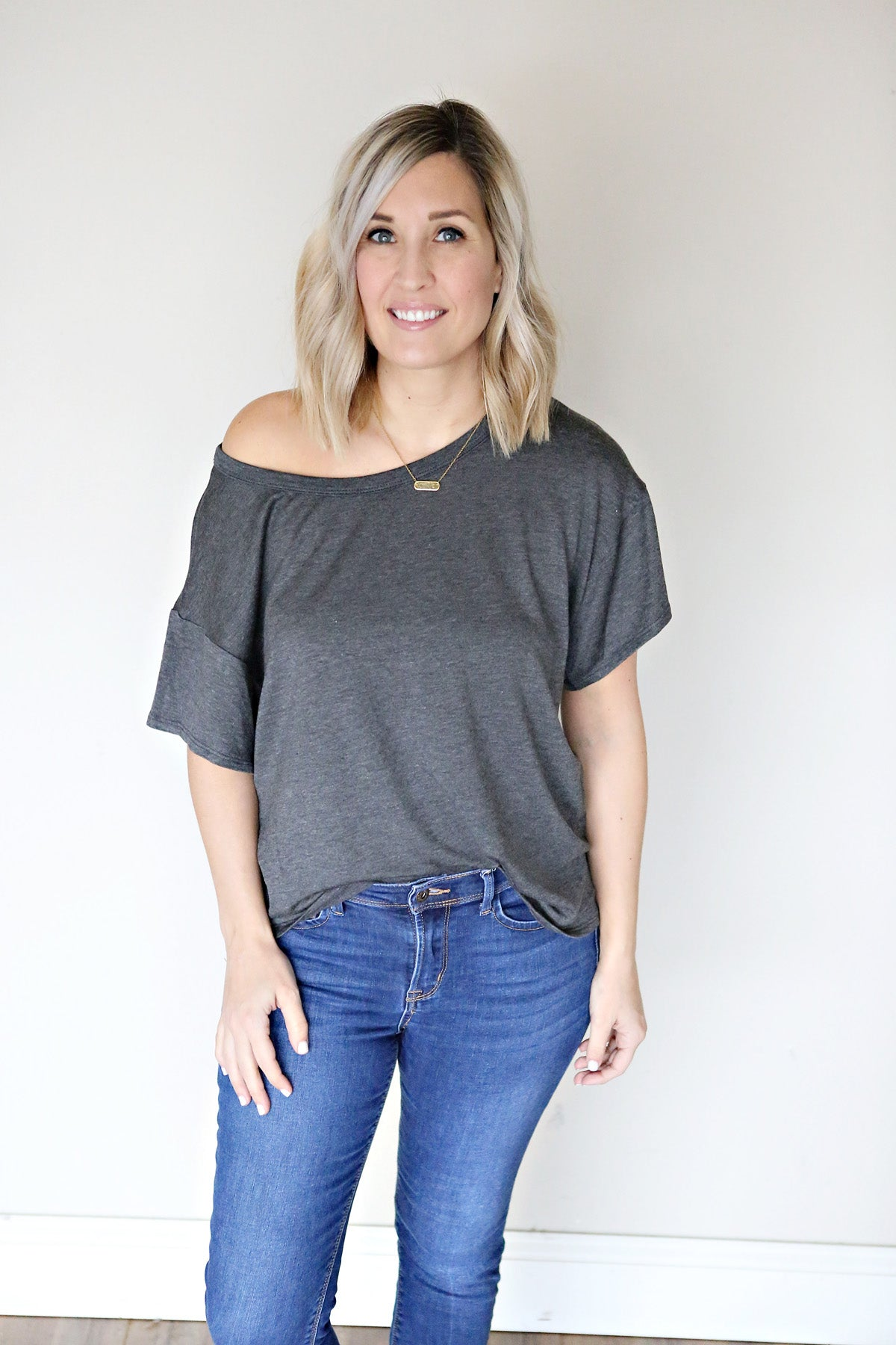 Elizabeth Top - Charcoal - Gray Monroe