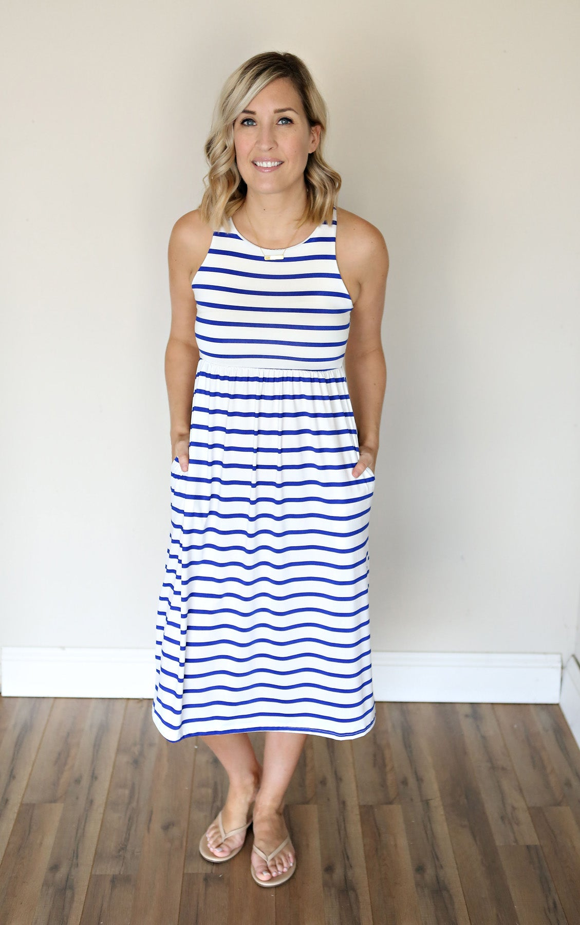 Huntley Striped Dress - Royal Blue - Gray Monroe