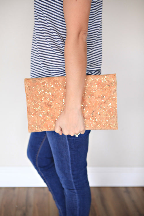 Cork Clutch - Gold - Gray Monroe