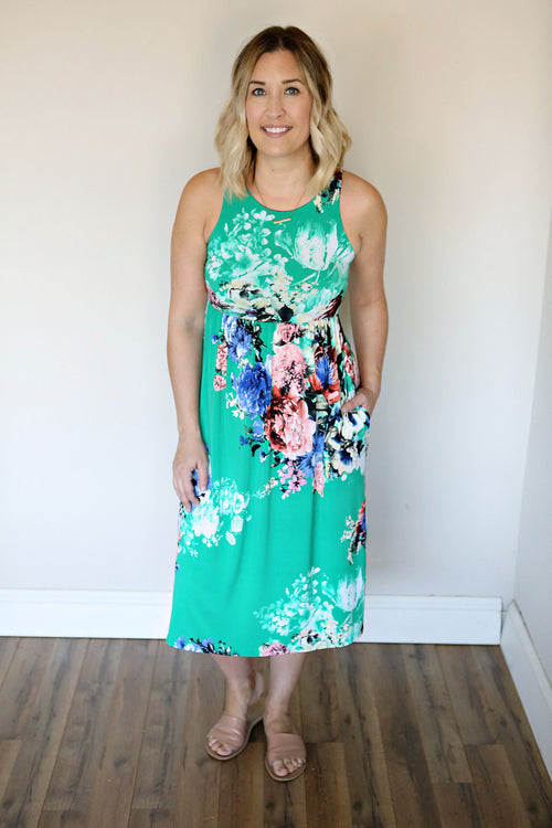 Huntley Floral Dress - Green